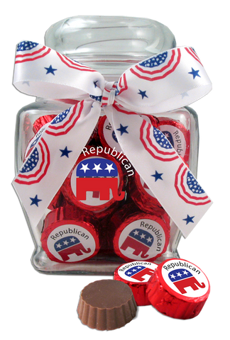 Republican Party Glass Jar with Two-Bite Chocolates