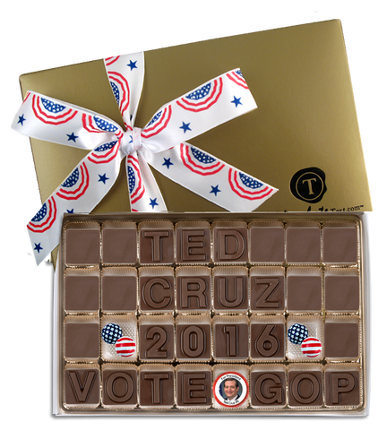 Ted Cruz For President - Chocolate Text Box with Imprinted Ribbon and Chocolate Candidate