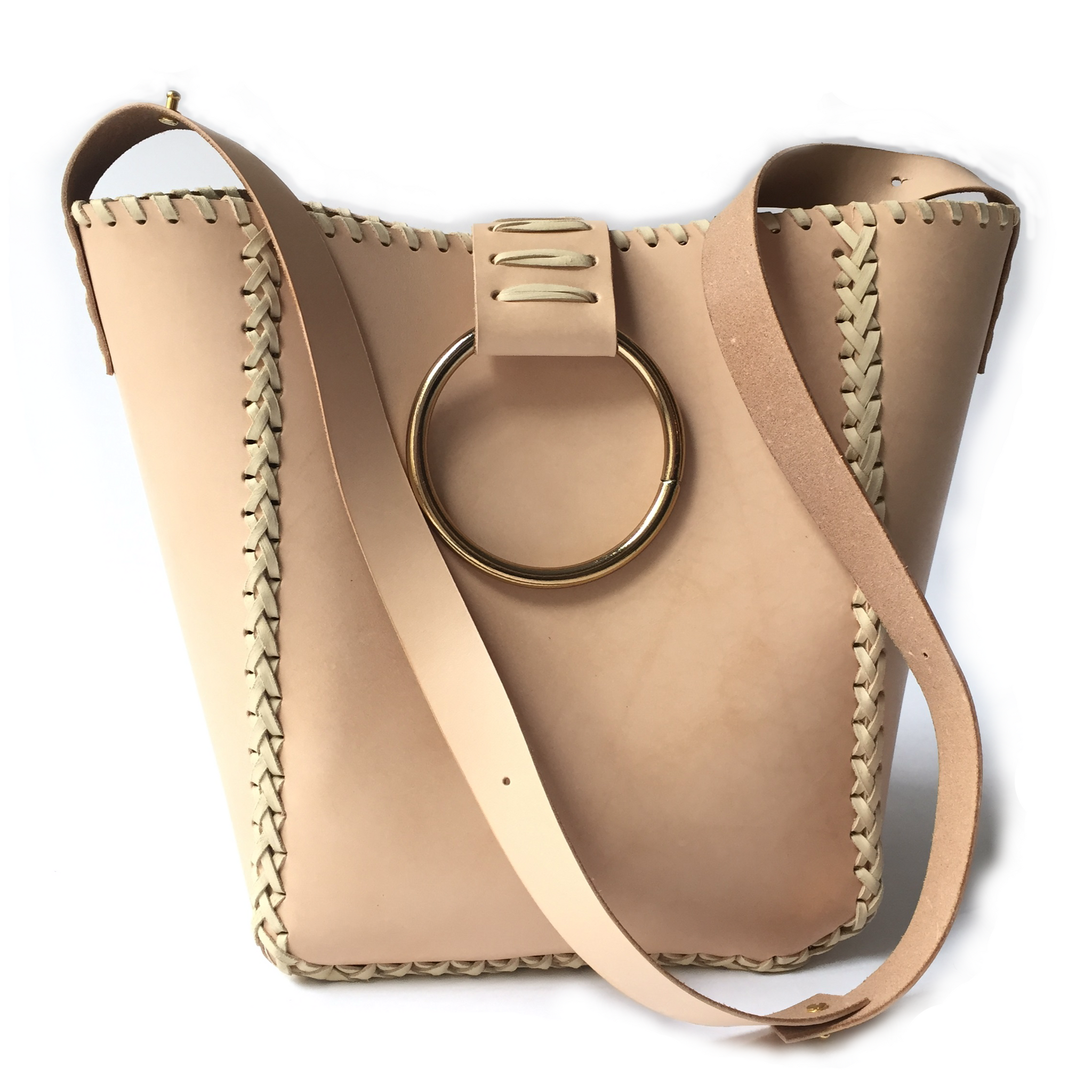 LEATHER KNOCKER TOTE BAG WITH ADJUSTABLE SHOULDER STRAP