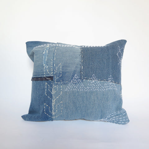 DENIM SASHIKO PILLOW - #181
