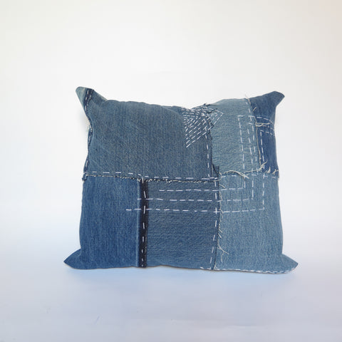 DENIM SASHIKO PILLOW - #182