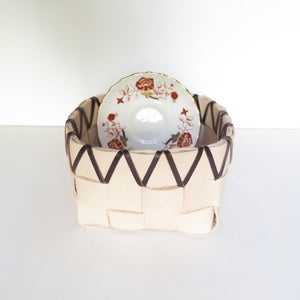 TABLETOP BASKET PLANTER WITH VINTAGE RED AND GOLD FLORAL BONE CHINA