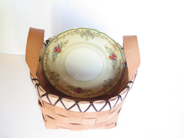 TABLETOP BASKET PLANTER WITH HANDLES AND VINTAGE BONE CHINA PLATE