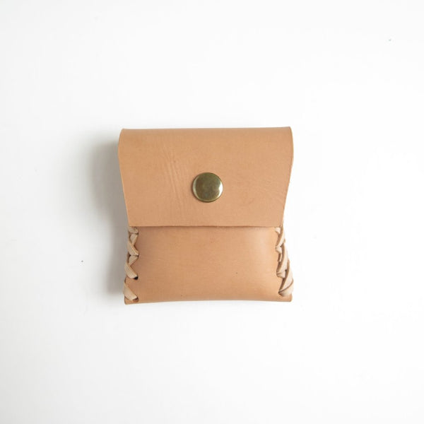 LEATHER COIN PURSE WITH SNAP CLOSURE