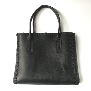 SLIM LEATHER LAPTOP TOTEBAG WITH SADDLE-STITCHED HANDLES