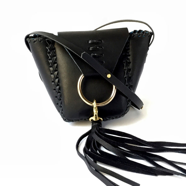 LEATHER MINI KNOCKER WITH ADJUSTABLE SHOULDER STRAP