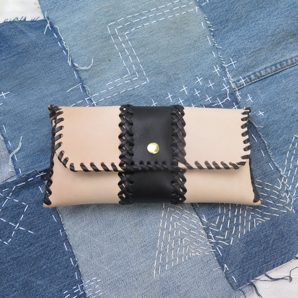 SMALL LEATHER BRAIDED CLUTCH - with contrasting leather color