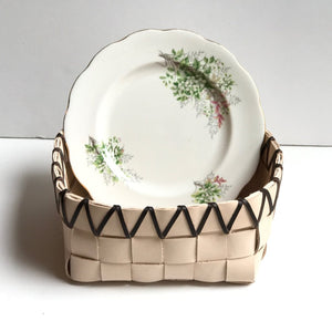 TABLETOP BASKET PLANTER WITH VINTAGE ROYAL ALBERT FLORAL BONE CHINA