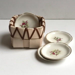 TABLETOP BASKET PLANTER WITH VINTAGE FLORAL BUTTER DISH
