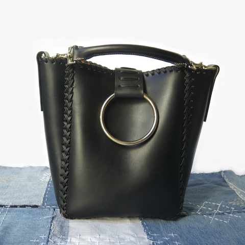 LEATHER KNOCKER TOTE BAG WITH SADDLE-STITCHED HANDLE