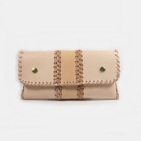 SMALL LEATHER BRAIDED CLUTCH - Last one!