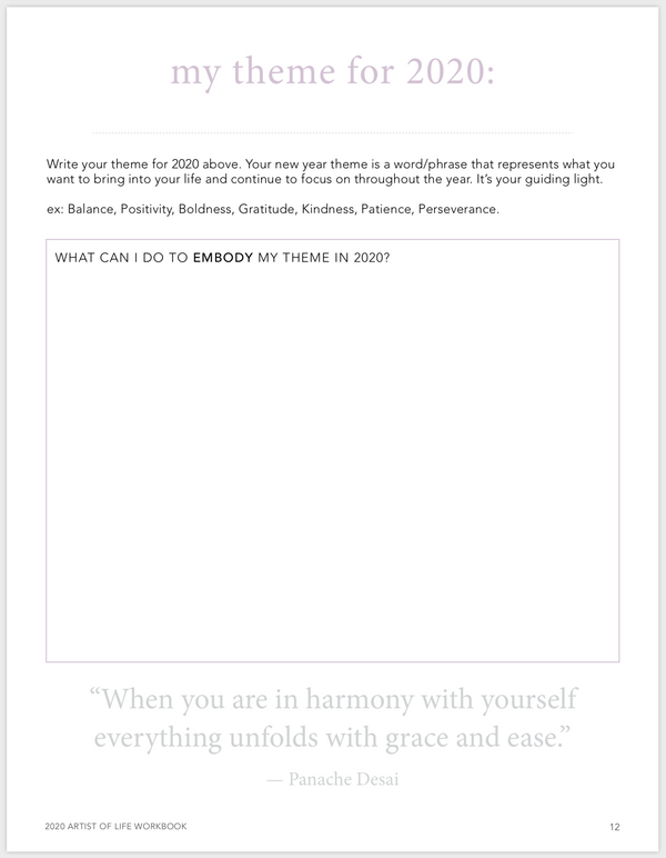 """my theme"" page of the 2020 Artist of Life Workbook"