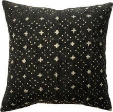 Load image into Gallery viewer, Mudcloth Black and Cream Cross Pillow Cover