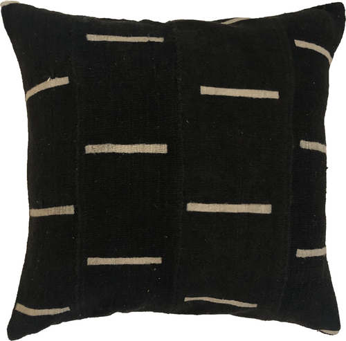 Mudcloth Cream Lines on Black Pillow Cover
