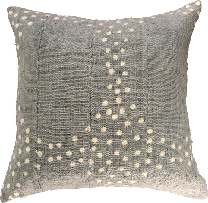 Mudcloth Blue and White Dots Pillow Cover