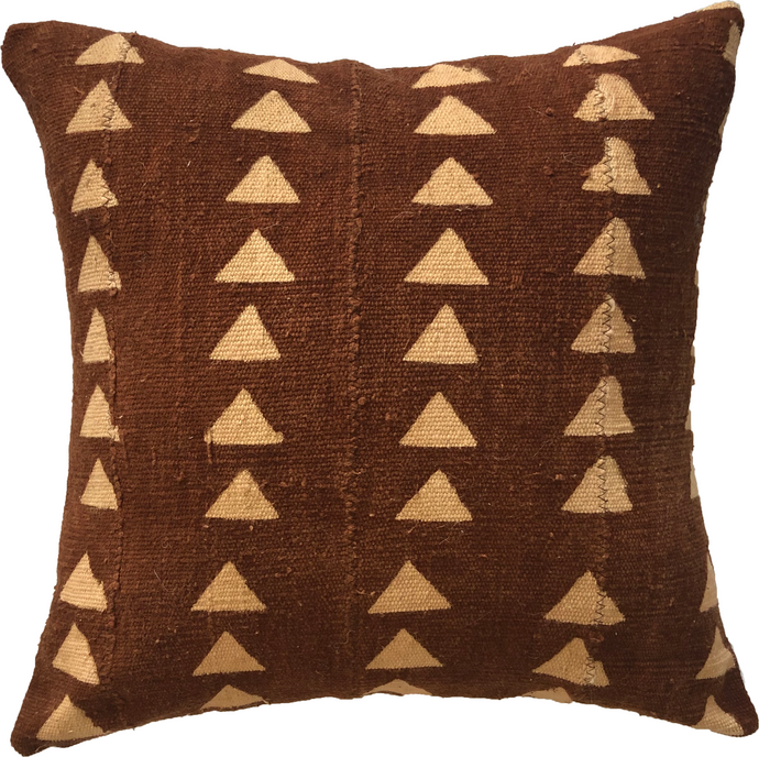 Mudcloth Cream and Rust Triangle Pillow Cover