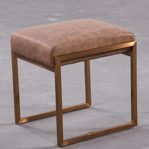Mithra™ Leather Stool - Brown - Wallencia Home Decor