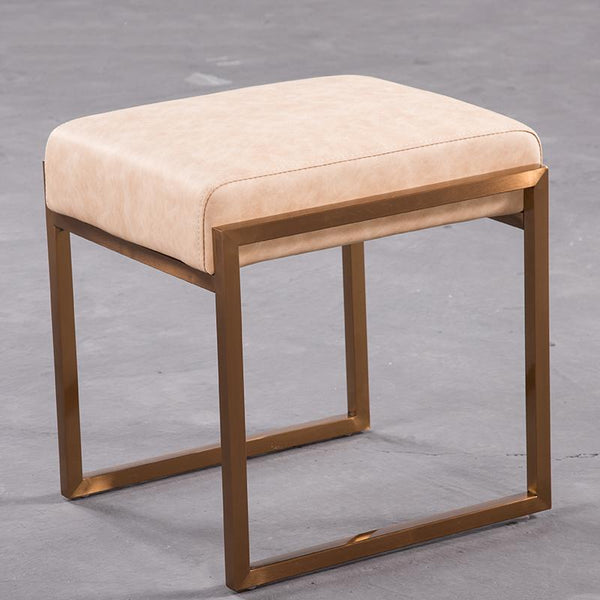 Mithra™ Leather Stool - Apricot Beige - Wallencia Home Decor