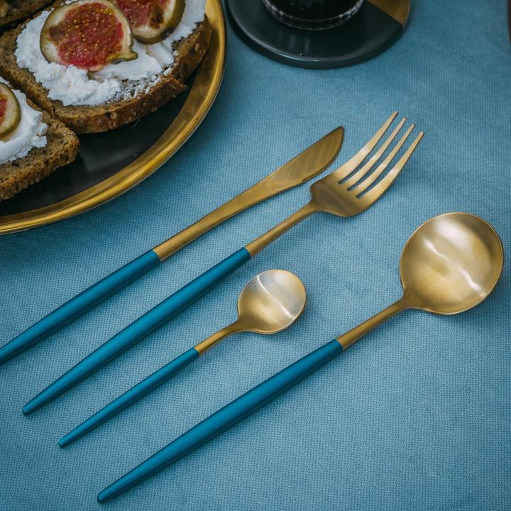 Lux Sentona Blue & Gold - Silverware Set - Wallencia Home Decor