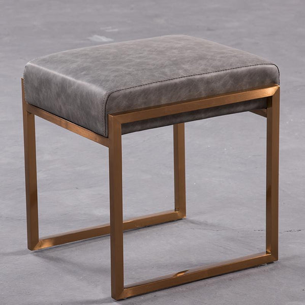 Mithra™ Leather Stool - Ash Grey - Wallencia Home Decor