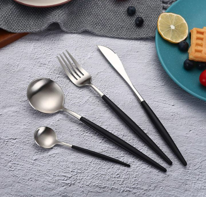 Lux Sentona Black & Silver - Silverware Set - Wallencia Home Decor