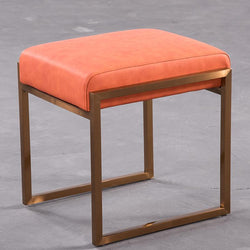 Mithra™ Leather Stool - Apricot - Wallencia Home Decor