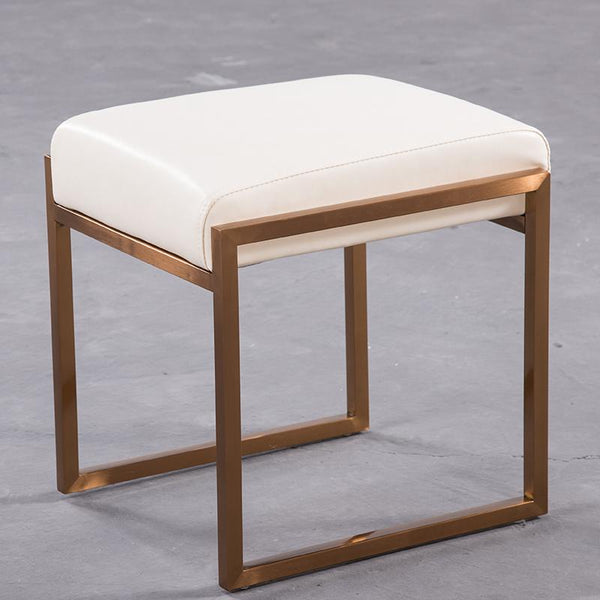 Mithra™ Leather Stool - White - Wallencia Home Decor