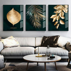Golden Plant Leaves - Wallencia Home Decor