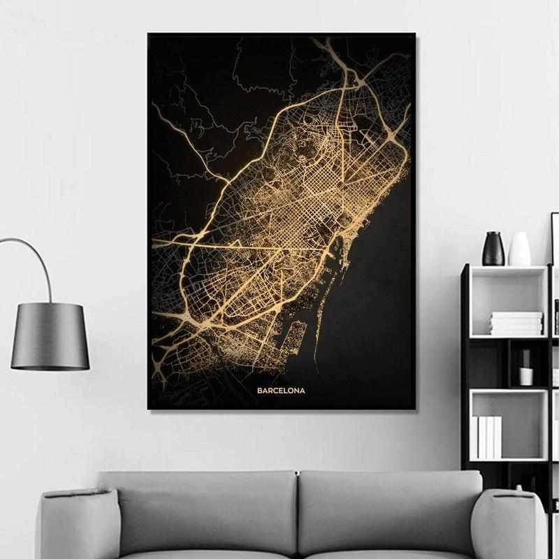 Barcelona by night gold - Wallencia Home Decor