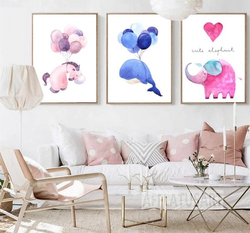 Cute Unicorn Whale and Elephant - Wallencia Home Decor