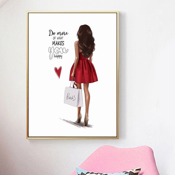 Red Dressed Girl - Wallencia Home Decor