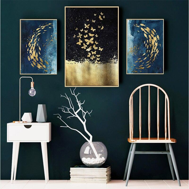 Golden Fish & Butterfly - Wallencia Home Decor
