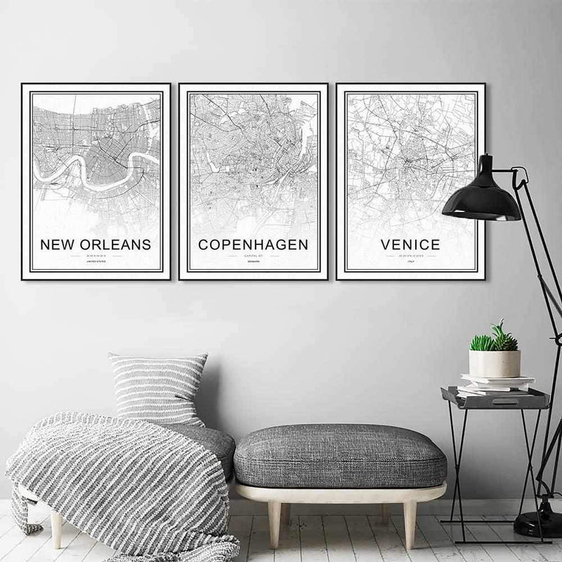 Black and White - Cities - Wallencia Home Decor