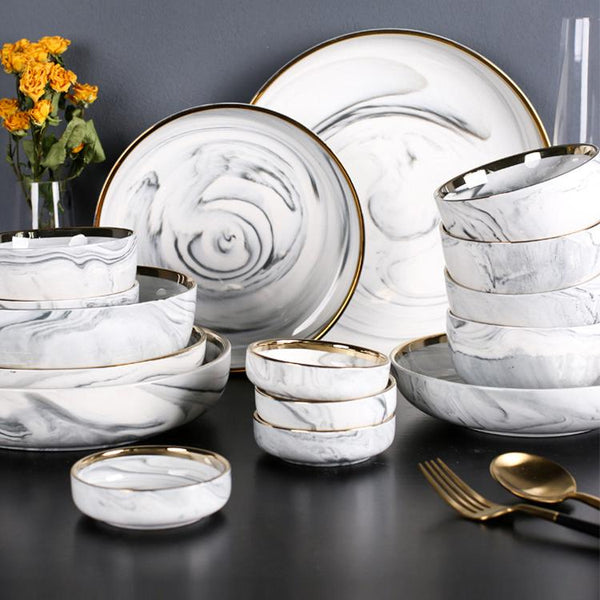 Monaco Marble Dinnerware Set - Wallencia Home Decor