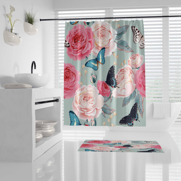 Flower Butterfly - Shower Curtain - Wallencia Home Decor