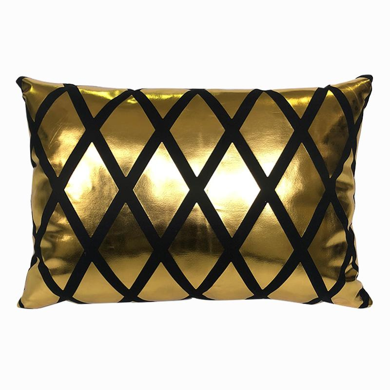 Golden Grid Wide - Pillow Case - Wallencia Home Decor