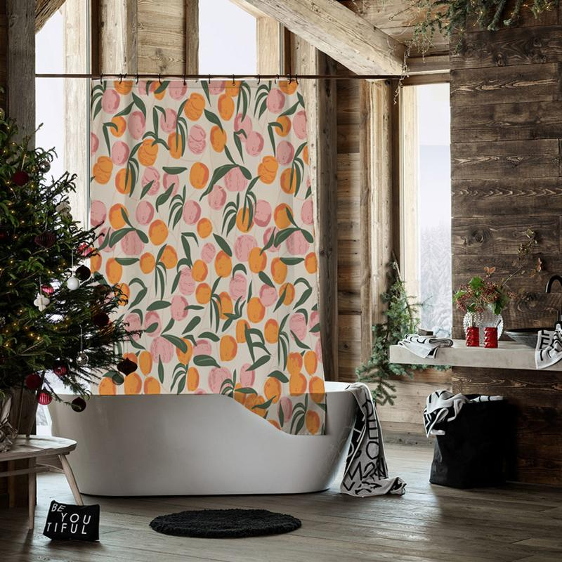 Orange and Peach - Shower Curtain - Wallencia Home Decor