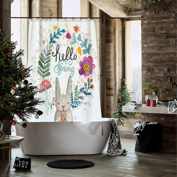 Hello Rabbit - Shower Curtain - Wallencia Home Decor