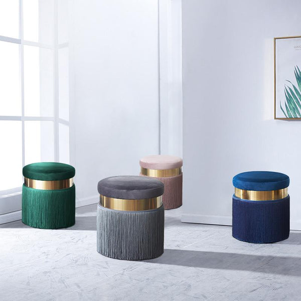 Haoma™ Velvet Stool - Emerald - Wallencia Home Decor