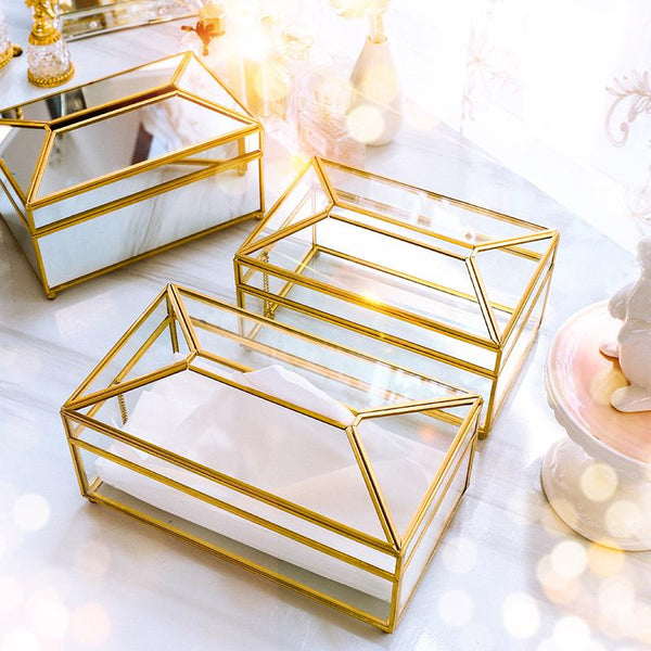 Kleen-X™ Golden Glass Tissue Box - Wallencia Home Decor