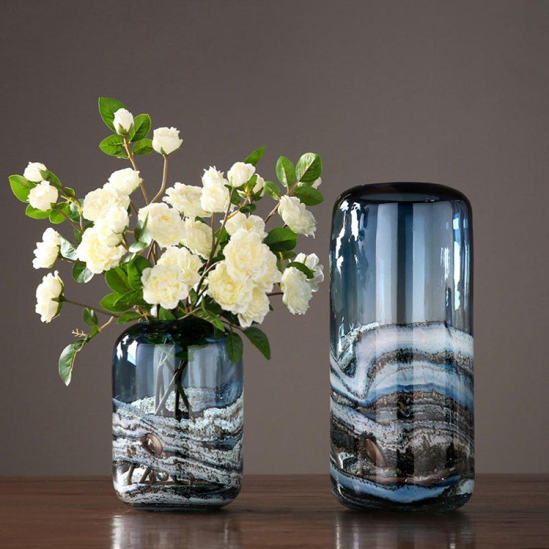 Sandstorm Bluish Vase Collection - Wallencia Home Decor