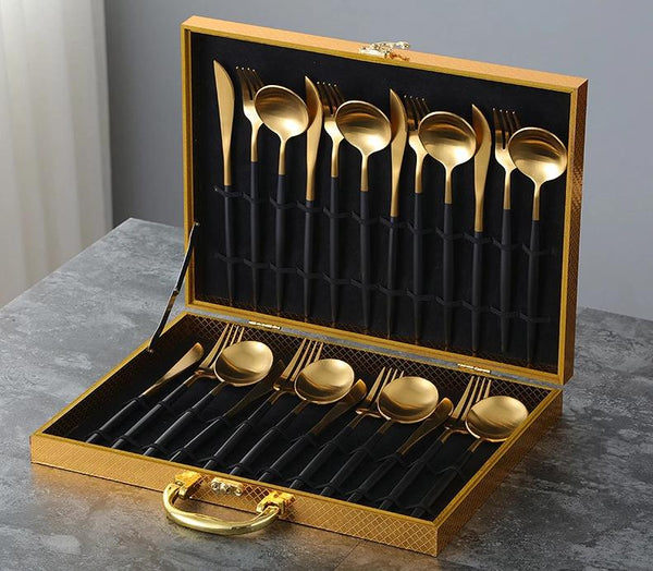 Lux Sentona Black & Gold - Silverware Set - Wallencia Home Decor