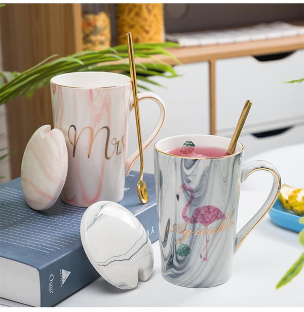 Elegance Marble Coffee Mug Set with Gift Box - Wallencia Home Decor