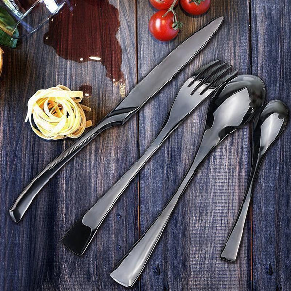 Jet-X Black Flatware - Wallencia Home Decor