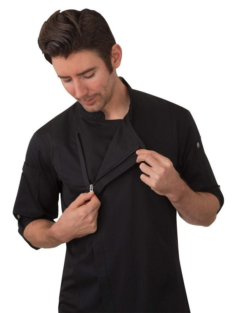 Chef Works Hartford Chef Coat Black Open
