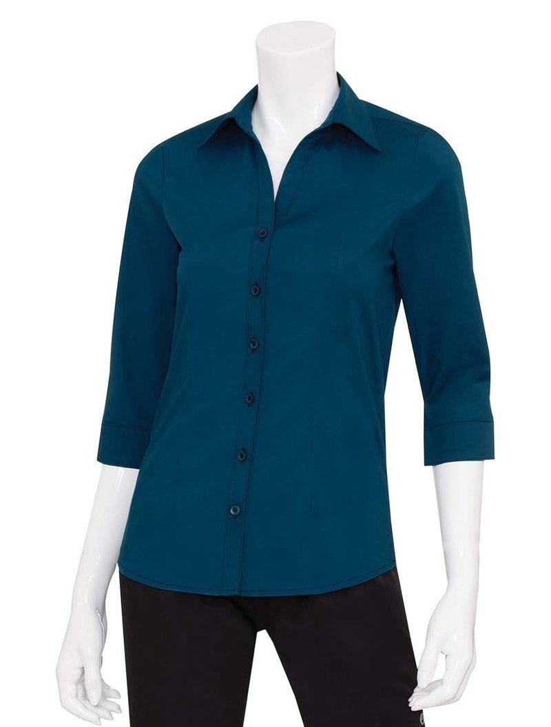 Chef Works Finesse Women's 3/4-Sleeve Shirt Sapphire Blue Front