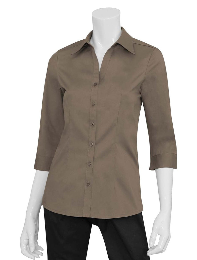 Chef Works Finesse Women's 3/4-Sleeve Shirt Natural Front