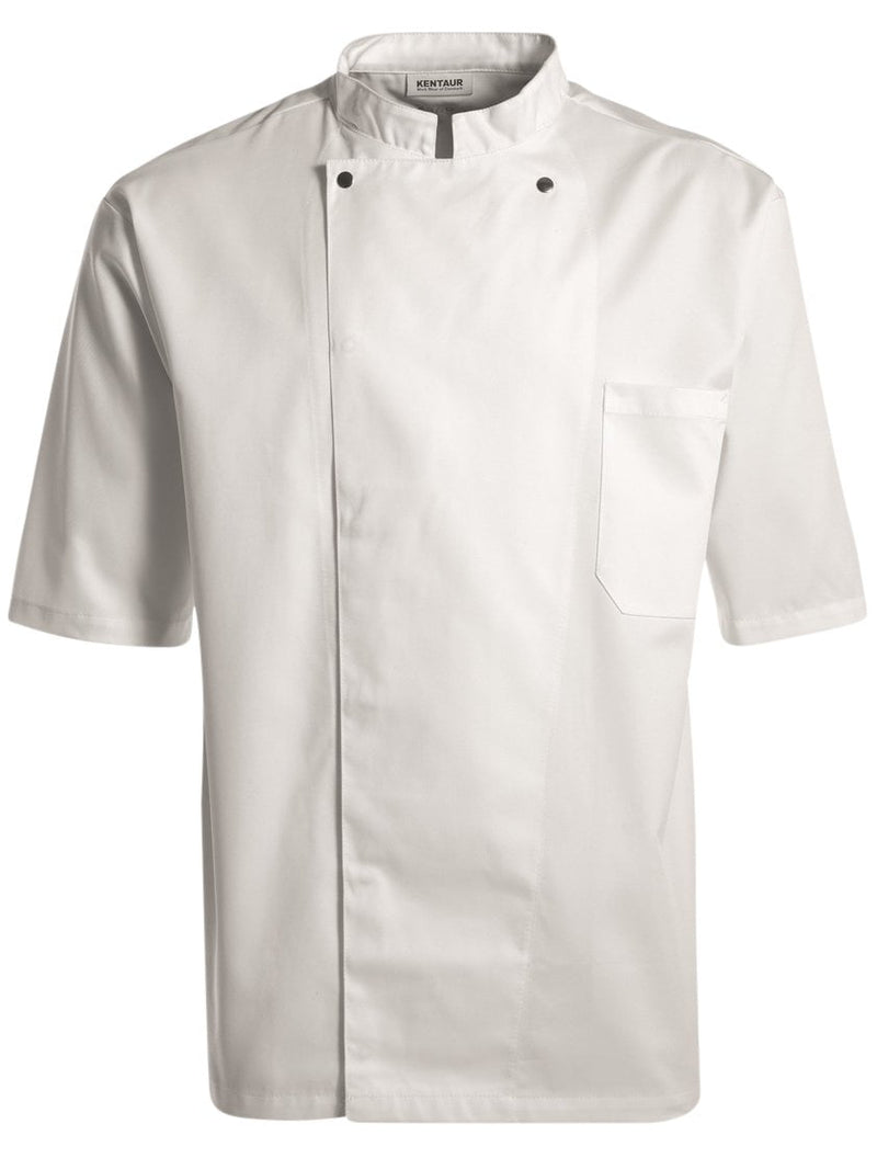 Kentaur 2360 Short Sleeve Unisex Chef/Waiter Jacket - White - Front View