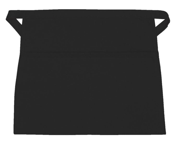 "Reversible 2 pockets Waist Apron 13"" L x 16"" W Black Open"