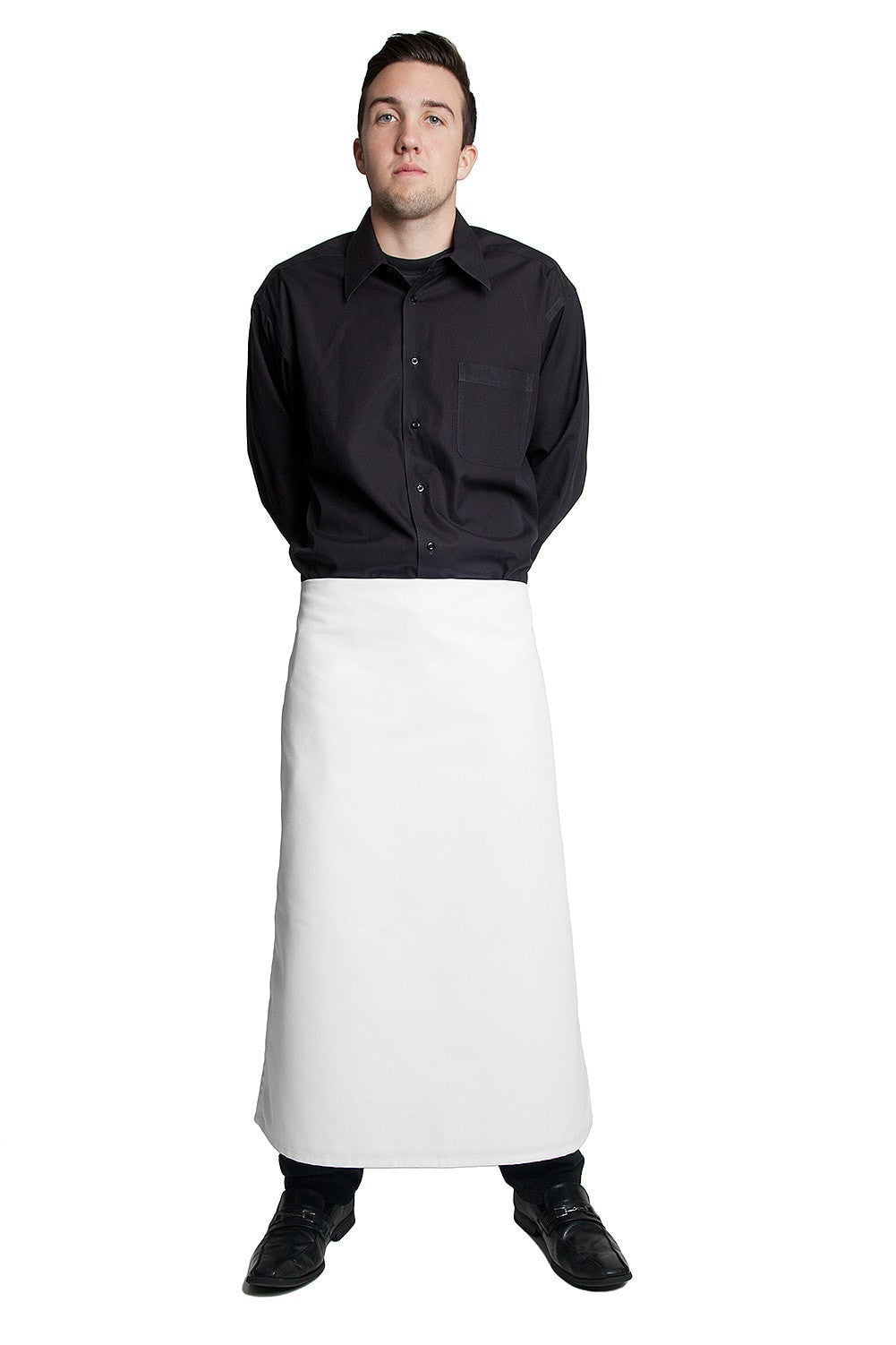 "Full Bistro Apron w/No Pockets 32""L x 28""W White"